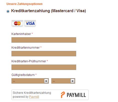 Kreditkarten Zahlung in der Kekswerkstatt